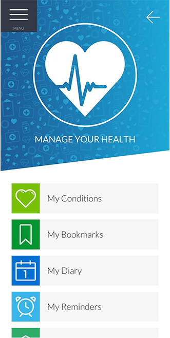Manage Your Health main menu